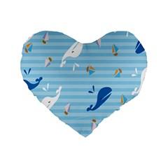 Whaling Ship Blue Sea Beach Animals Standard 16  Premium Flano Heart Shape Cushions