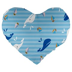 Whaling Ship Blue Sea Beach Animals Large 19  Premium Flano Heart Shape Cushions