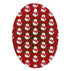 Card Cartoon Christmas Cold Oval Ornament (two Sides)