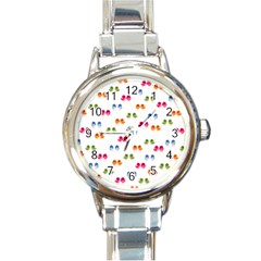 Pattern Birds Cute Design Nature Round Italian Charm Watch