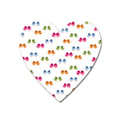 Pattern Birds Cute Design Nature Heart Magnet