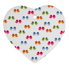 Pattern Birds Cute Design Nature Heart Ornament (two Sides)