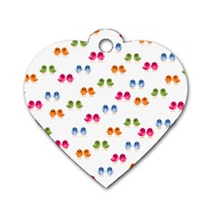 Pattern Birds Cute Design Nature Dog Tag Heart (one Side)