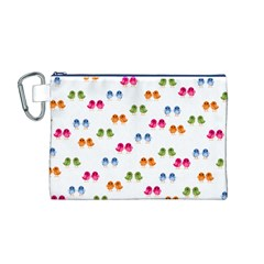 Pattern Birds Cute Design Nature Canvas Cosmetic Bag (m)