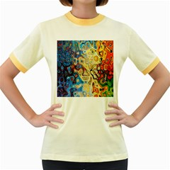 Background Structure Absstrakt Color Texture Women s Fitted Ringer T Shirts