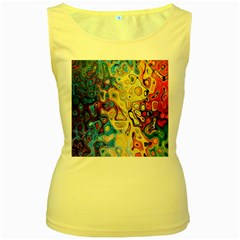 Background Structure Absstrakt Color Texture Women s Yellow Tank Top