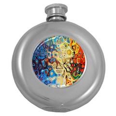 Background Structure Absstrakt Color Texture Round Hip Flask (5 Oz)