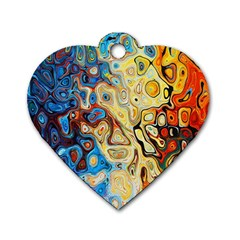 Background Structure Absstrakt Color Texture Dog Tag Heart (one Side)