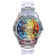 Background Structure Absstrakt Color Texture Stainless Steel Analogue Watch