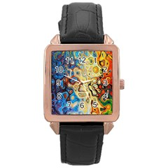 Background Structure Absstrakt Color Texture Rose Gold Leather Watch