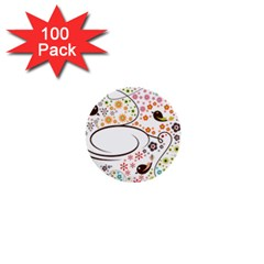 Flower Floral Rose Sunflower Bird Back Color Orange Purple Yellow Red 1  Mini Buttons (100 pack)