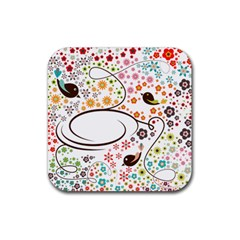 Flower Floral Rose Sunflower Bird Back Color Orange Purple Yellow Red Rubber Square Coaster (4 pack)
