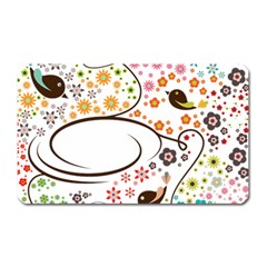 Flower Floral Rose Sunflower Bird Back Color Orange Purple Yellow Red Magnet (rectangular)