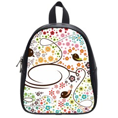 Flower Floral Rose Sunflower Bird Back Color Orange Purple Yellow Red School Bags (Small)