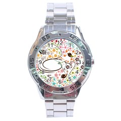 Flower Floral Rose Sunflower Bird Back Color Orange Purple Yellow Red Stainless Steel Analogue Watch
