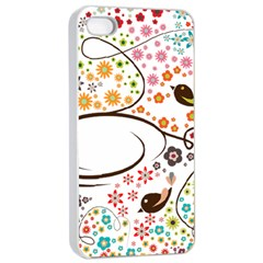 Flower Floral Rose Sunflower Bird Back Color Orange Purple Yellow Red Apple iPhone 4/4s Seamless Case (White)