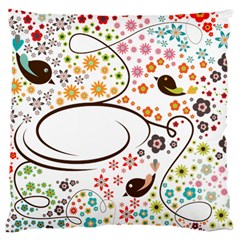 Flower Floral Rose Sunflower Bird Back Color Orange Purple Yellow Red Large Cushion Case (one Side)
