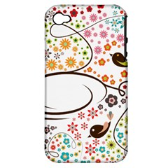Flower Floral Rose Sunflower Bird Back Color Orange Purple Yellow Red Apple Iphone 4/4s Hardshell Case (pc+silicone)