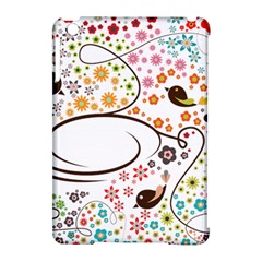 Flower Floral Rose Sunflower Bird Back Color Orange Purple Yellow Red Apple Ipad Mini Hardshell Case (compatible With Smart Cover)