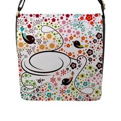 Flower Floral Rose Sunflower Bird Back Color Orange Purple Yellow Red Flap Messenger Bag (L)