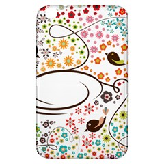 Flower Floral Rose Sunflower Bird Back Color Orange Purple Yellow Red Samsung Galaxy Tab 3 (8 ) T3100 Hardshell Case