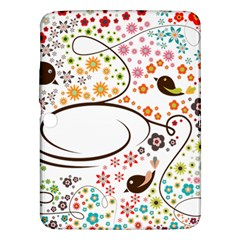 Flower Floral Rose Sunflower Bird Back Color Orange Purple Yellow Red Samsung Galaxy Tab 3 (10 1 ) P5200 Hardshell Case