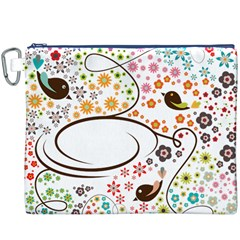 Flower Floral Rose Sunflower Bird Back Color Orange Purple Yellow Red Canvas Cosmetic Bag (XXXL)