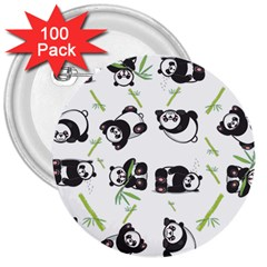 Panda Tile Cute Pattern 3  Buttons (100 Pack)