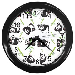 Panda Tile Cute Pattern Wall Clocks (black)