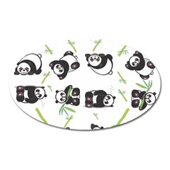 Panda Tile Cute Pattern Oval Magnet