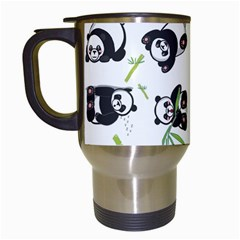 Panda Tile Cute Pattern Travel Mugs (White)