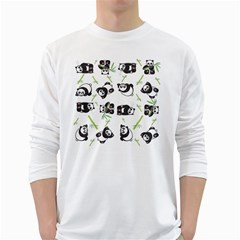 Panda Tile Cute Pattern White Long Sleeve T Shirts