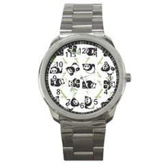 Panda Tile Cute Pattern Sport Metal Watch