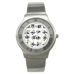 Panda Tile Cute Pattern Stainless Steel Watch