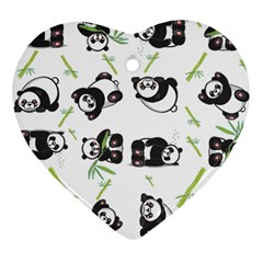 Panda Tile Cute Pattern Heart Ornament (two Sides)