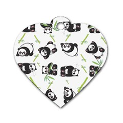 Panda Tile Cute Pattern Dog Tag Heart (one Side)