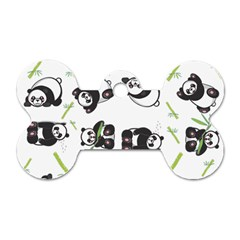 Panda Tile Cute Pattern Dog Tag Bone (one Side)