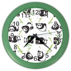 Panda Tile Cute Pattern Color Wall Clocks