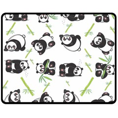 Panda Tile Cute Pattern Fleece Blanket (Medium)