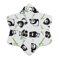 Panda Tile Cute Pattern Snowflake Ornament (two Sides)