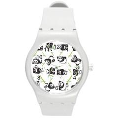 Panda Tile Cute Pattern Round Plastic Sport Watch (m)