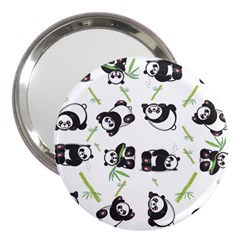 Panda Tile Cute Pattern 3  Handbag Mirrors