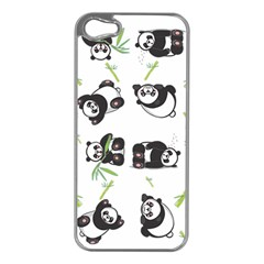 Panda Tile Cute Pattern Apple Iphone 5 Case (silver)
