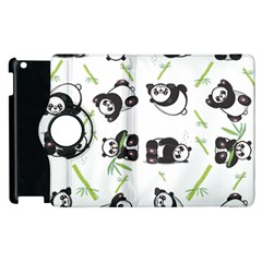 Panda Tile Cute Pattern Apple Ipad 2 Flip 360 Case