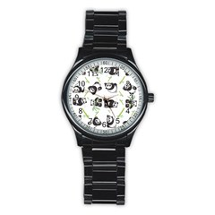Panda Tile Cute Pattern Stainless Steel Round Watch