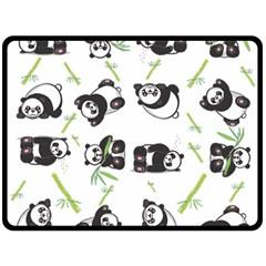 Panda Tile Cute Pattern Double Sided Fleece Blanket (large)