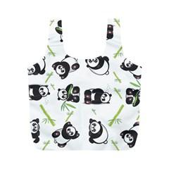 Panda Tile Cute Pattern Full Print Recycle Bags (m)
