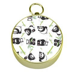 Panda Tile Cute Pattern Gold Compasses