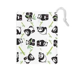 Panda Tile Cute Pattern Drawstring Pouches (Large)