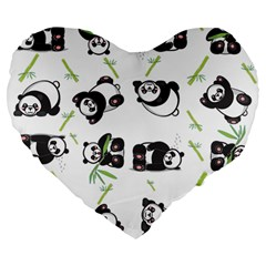Panda Tile Cute Pattern Large 19  Premium Flano Heart Shape Cushions
